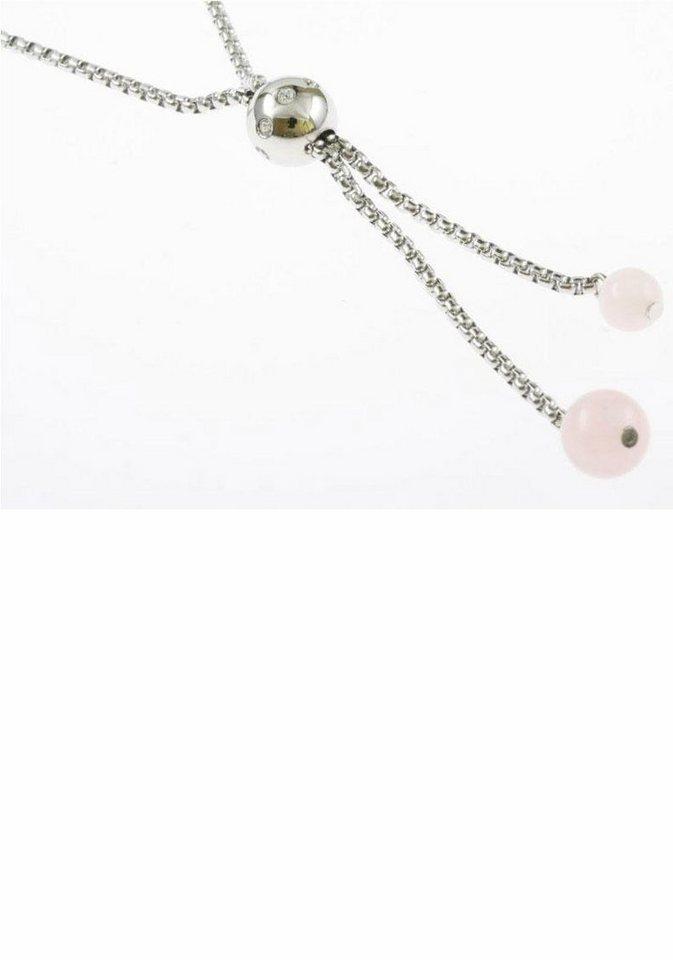 Firetti Kette mit Anhänger mit Glassteinen und Rosenquarz in silberfarben-weiß
