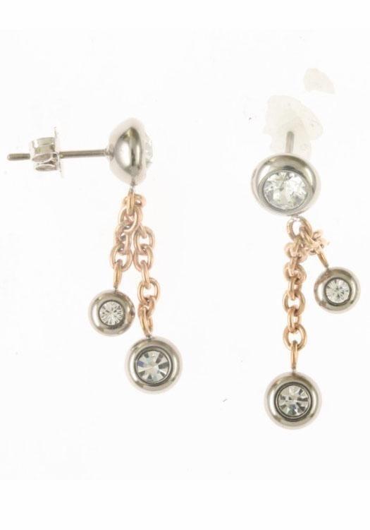 Firetti Paar Ohrhänger mit Swarovski-Kristallen in silberfarben-roségoldfarben