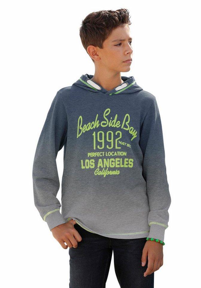 Arizona Kapuzensweatshirt Mit Farbverlauf und Druck in blau