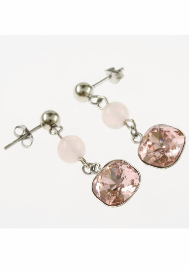Firetti Paar Ohrhänger mit Swarovski-Kristall und Rosenquarz in silberfarben-rosé
