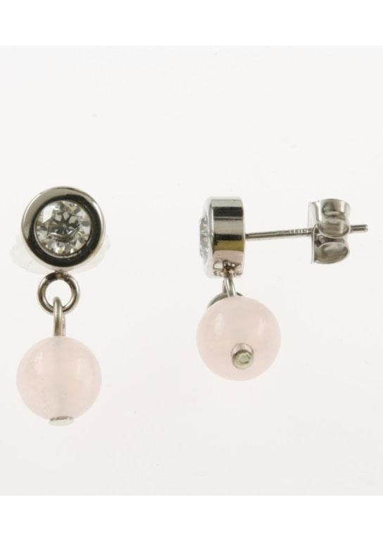 Firetti Paar Ohrstecker mit Glassteinen und Rosenquarz in silberfarben-weiß