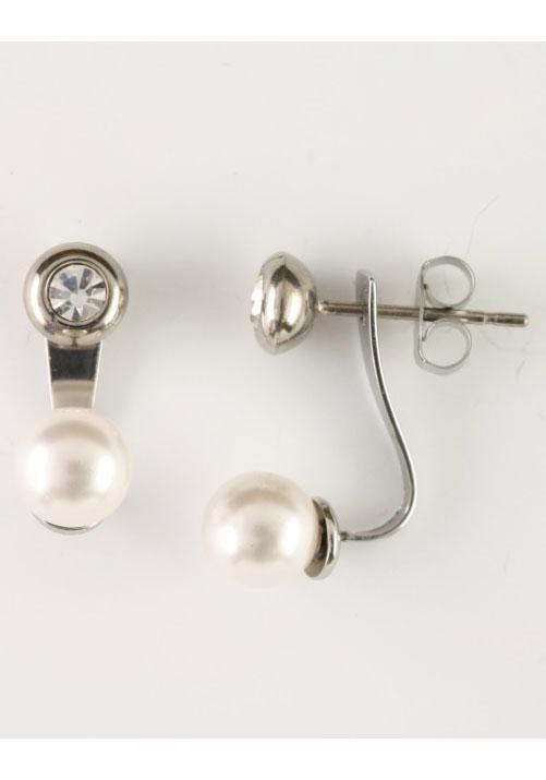Firetti Paar Ohrstecker mit abnehmbaren Einhängern, Swarovski-Perlen und Swarovski-Kristallen in silberfarben-weiß