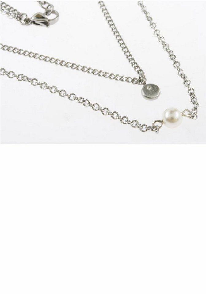 Firetti Kette mit Anhänger mit Swarovski-Kristall und Swarovski-Perle in silberfarben-weiß