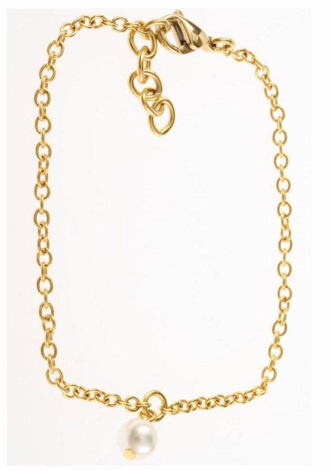 Firetti Edelstahlarmband mit Swarovski-Perle in goldfarben-weiß
