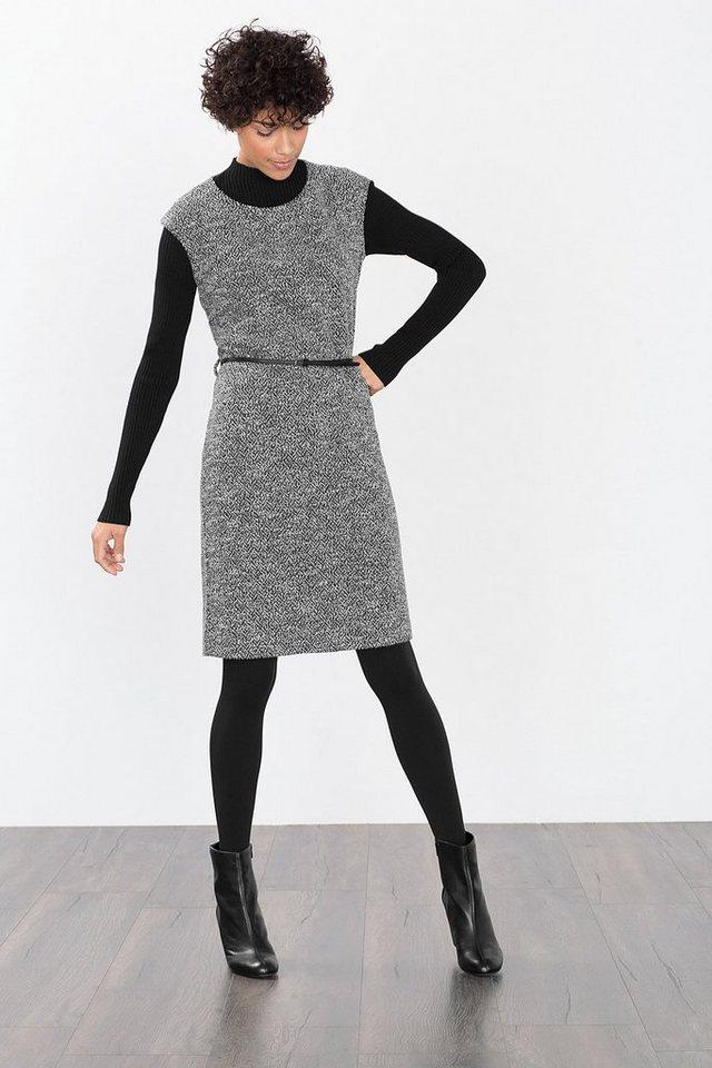 ESPRIT COLLECTION Stretch Sweat-Kleid in Salz-Pfeffer-Optik in BLACK