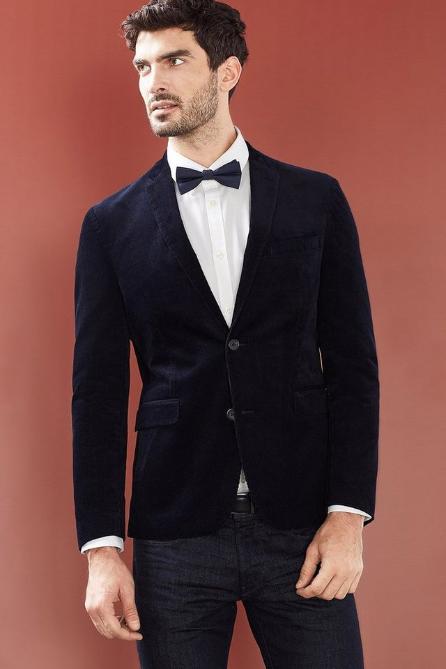 ESPRIT COLLECTION Samt-Blazer mit Struktur, Baumwoll-Mix in NAVY