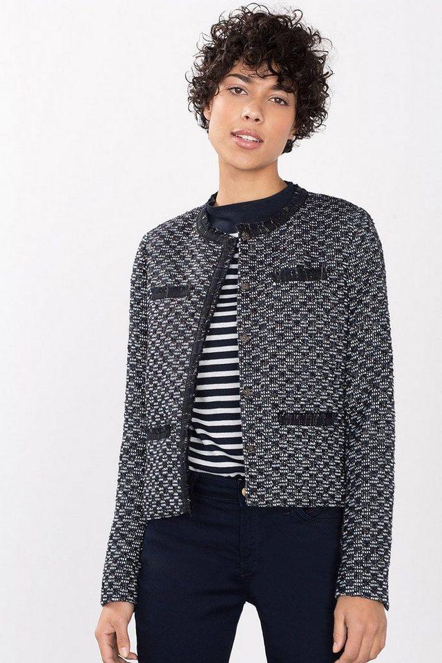 ESPRIT COLLECTION Luxus Bouclé-Jacket mit Lurexglanz in NAVY