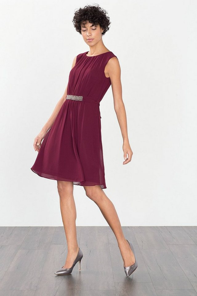 ESPRIT COLLECTION Fließendes Chiffonkleid mit Zierperlen in BORDEAUX RED