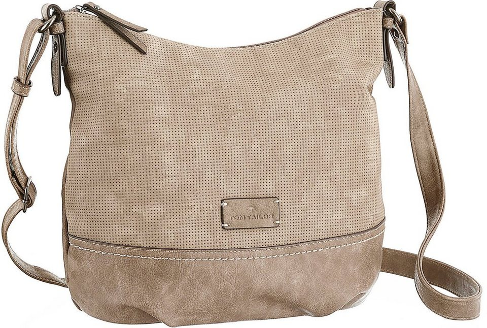 Tom Tailor Umhängetasche »LUZY« im Used-Look in taupe