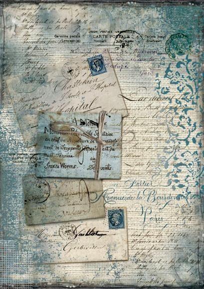 """Stamperia Motiv-Strohseide """"Blaue Postkarte """", DIN A4"""