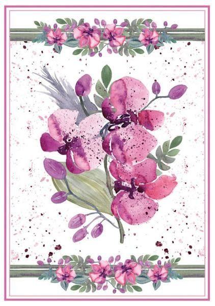 """Stamperia Motiv-Strohseide """"Veilchenstrauß Pink"""" DIN A4"""