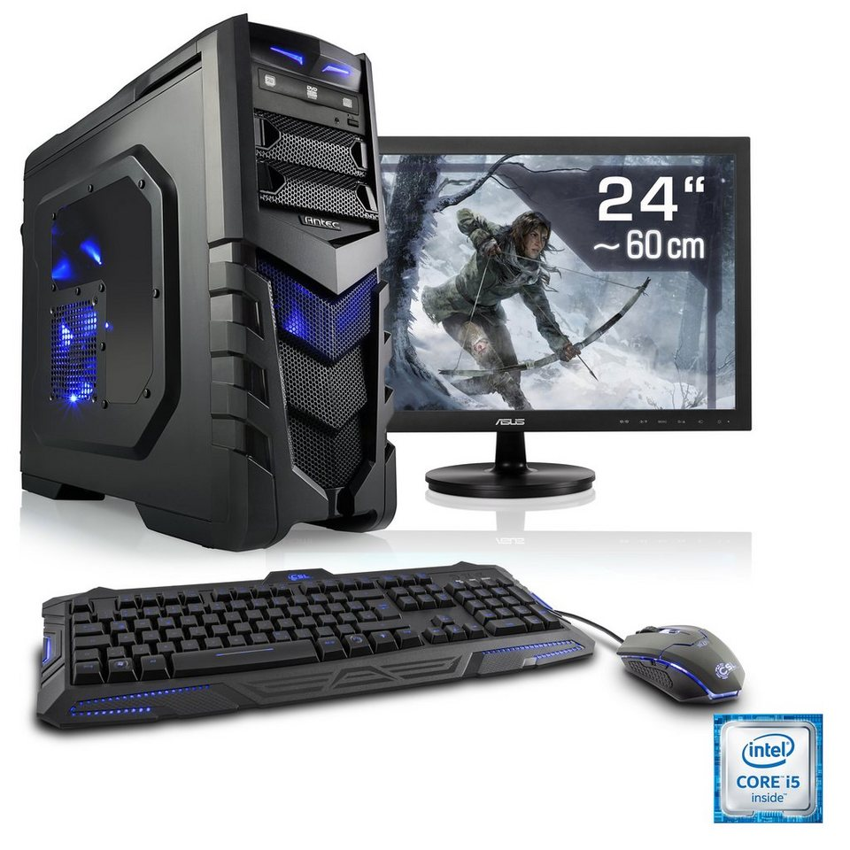 "CSL Gaming PC Set | i7-6700 | GeForce GTX 1070 | 16 GB RAM | 24"" TFT »Speed T7688 Windows 10 Home«"
