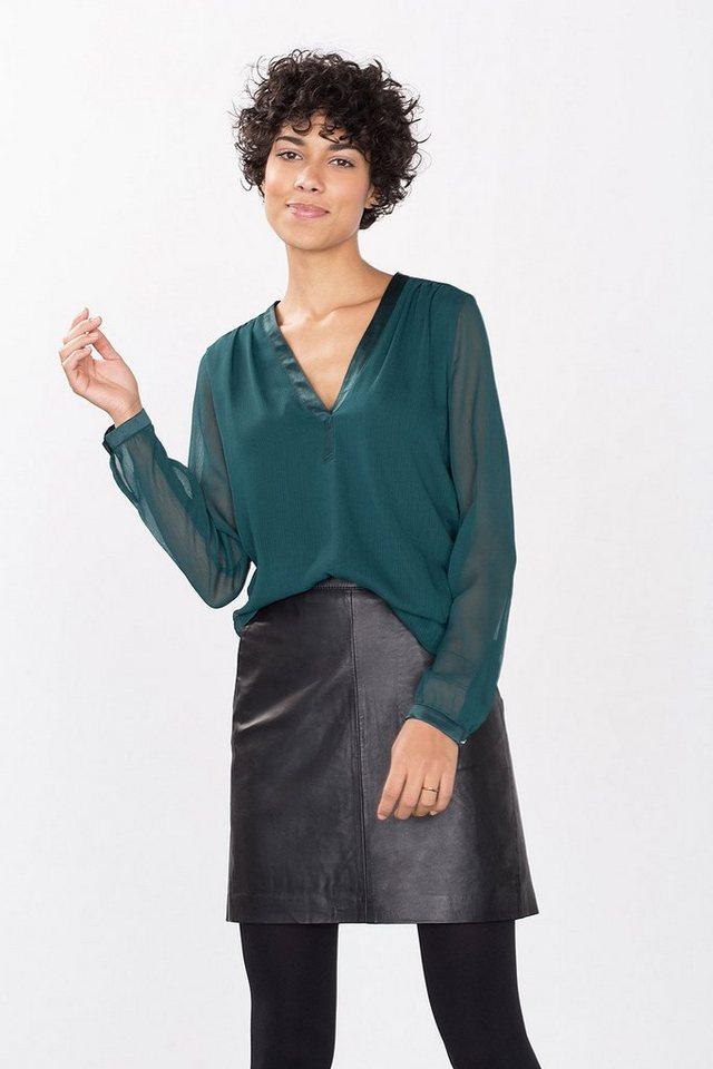 ESPRIT COLLECTION Fließende Bluse aus Crincled-Chiffon in BOTTLE GREEN
