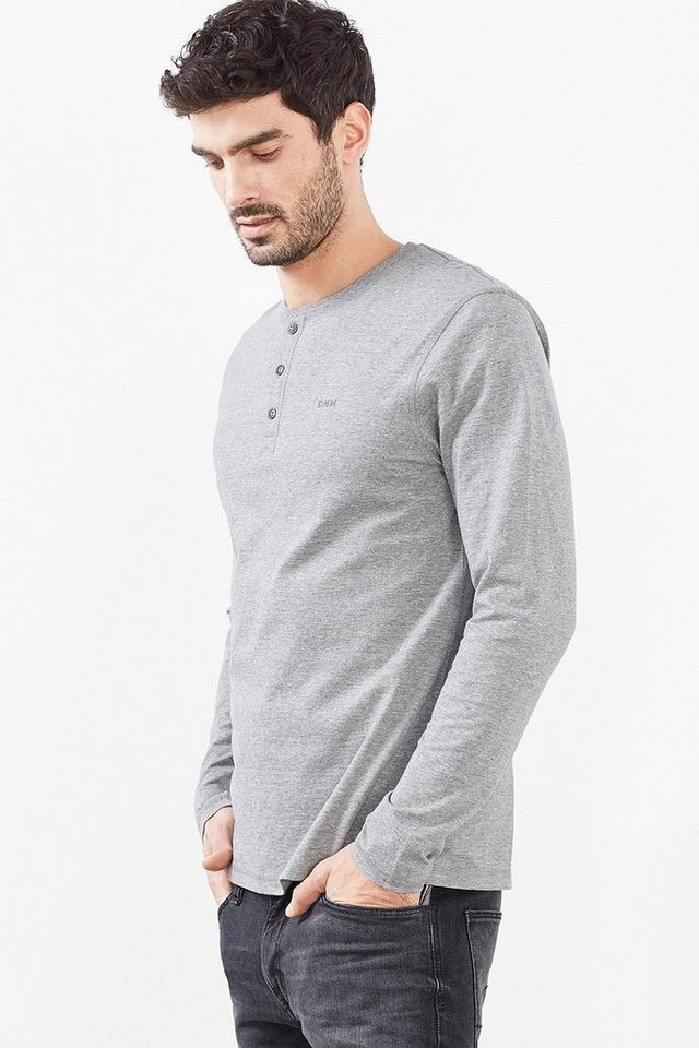 EDC Jersey Henley, 100% Baumwolle in MEDIUM GREY