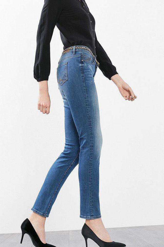 EDC Stretch-Jeans mit Leogürtel in BLUE MEDIUM WASHED