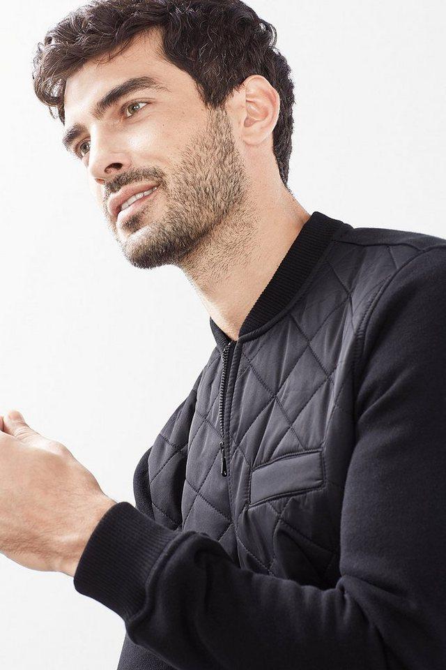 EDC Zip Sweat-Jacke im Bomber-Look in BLACK