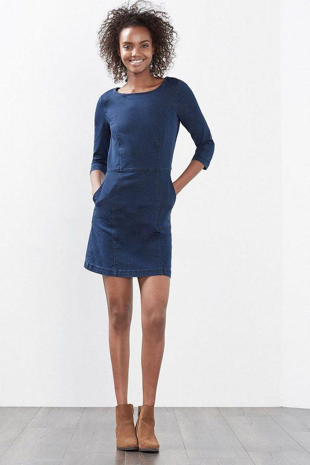 EDC Figurnahes Kleid aus Stretch-Denim in BLUE DARK WASHED