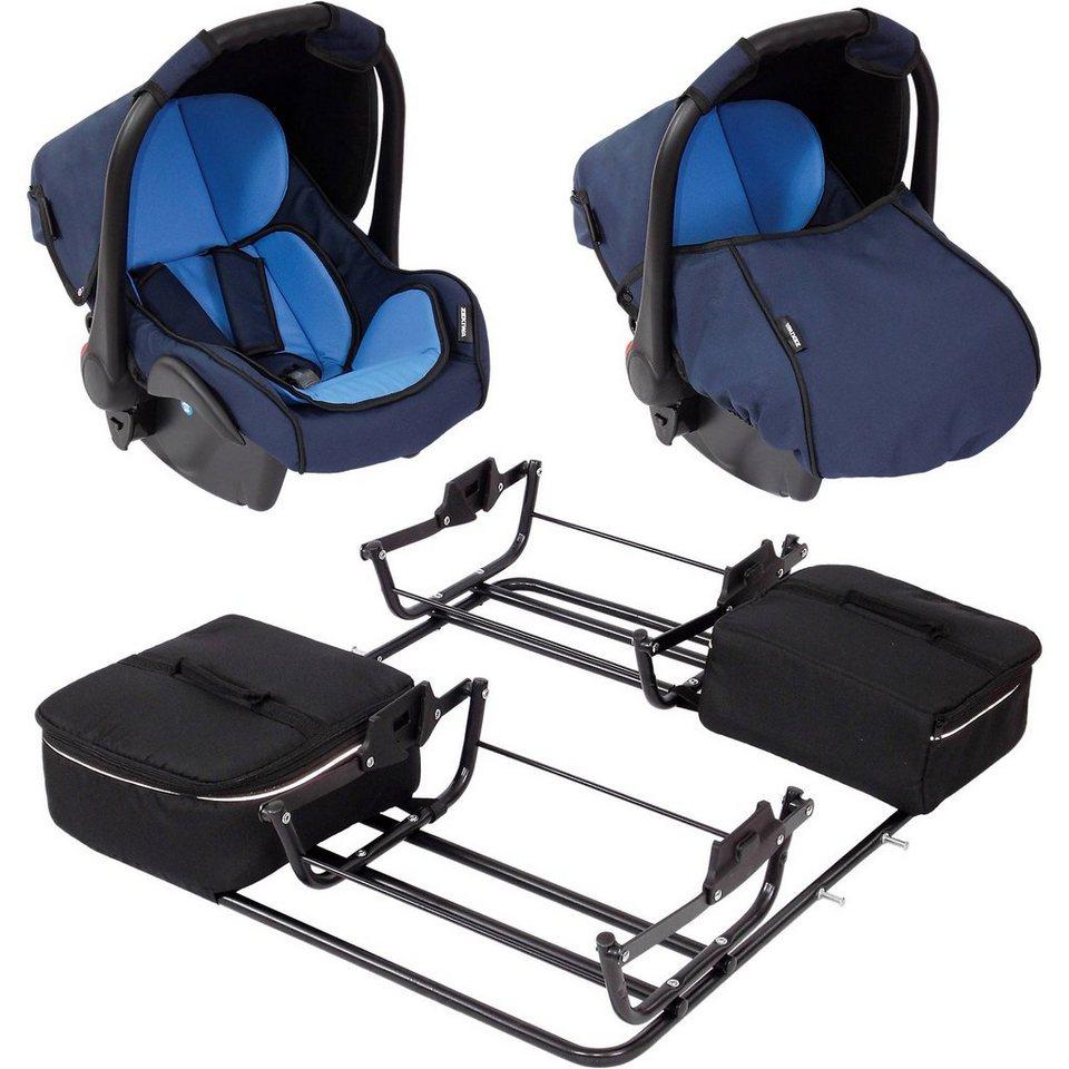 Zekiwa 2 Babyschalen ATS Plus inkl. Adapter für Zwillingswagen Spor in hellblau