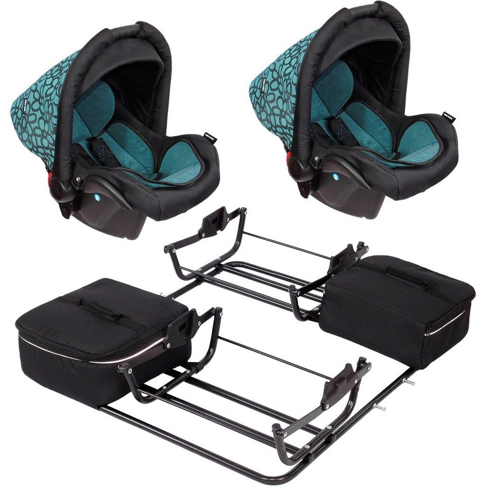 Zekiwa 2 Babyschalen ATS de Luxe inkl. Adapter für Zwillingswagen S in grün