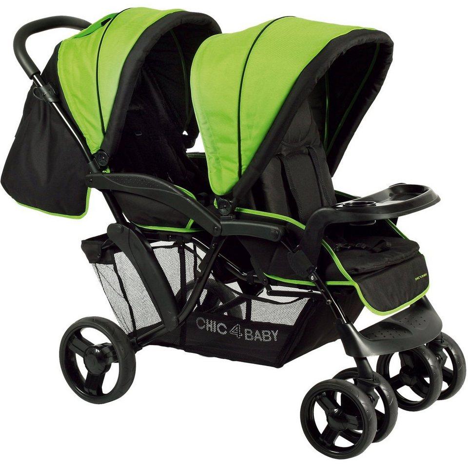 Chic 4 Baby Geschwisterwagen Doppio, schwarz/grün, 2017 in schwarz/grün