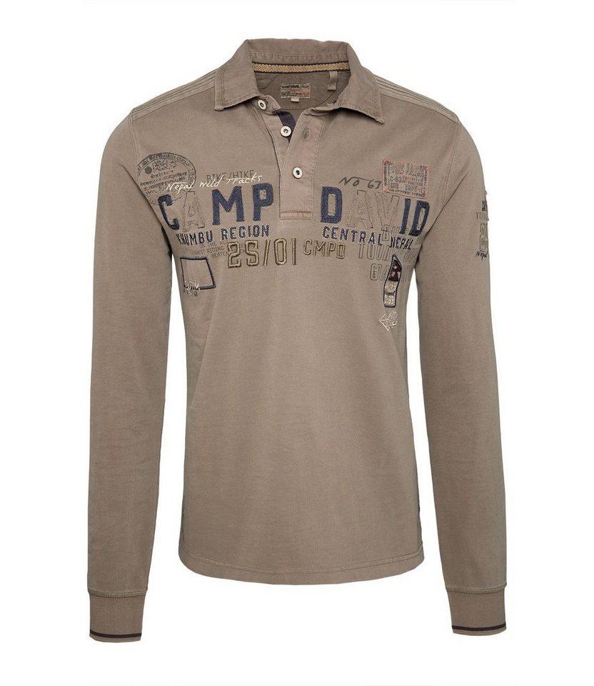CAMP DAVID Langarm-Poloshirt in khaki