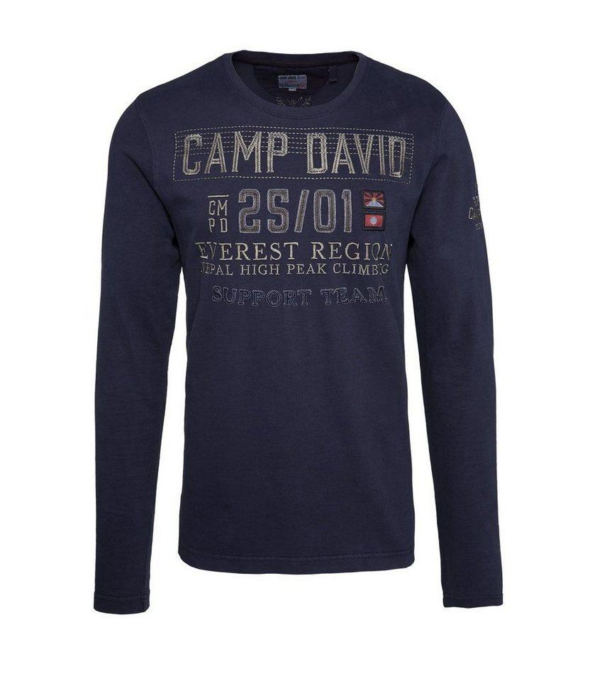CAMP DAVID Longsleeve in graublau