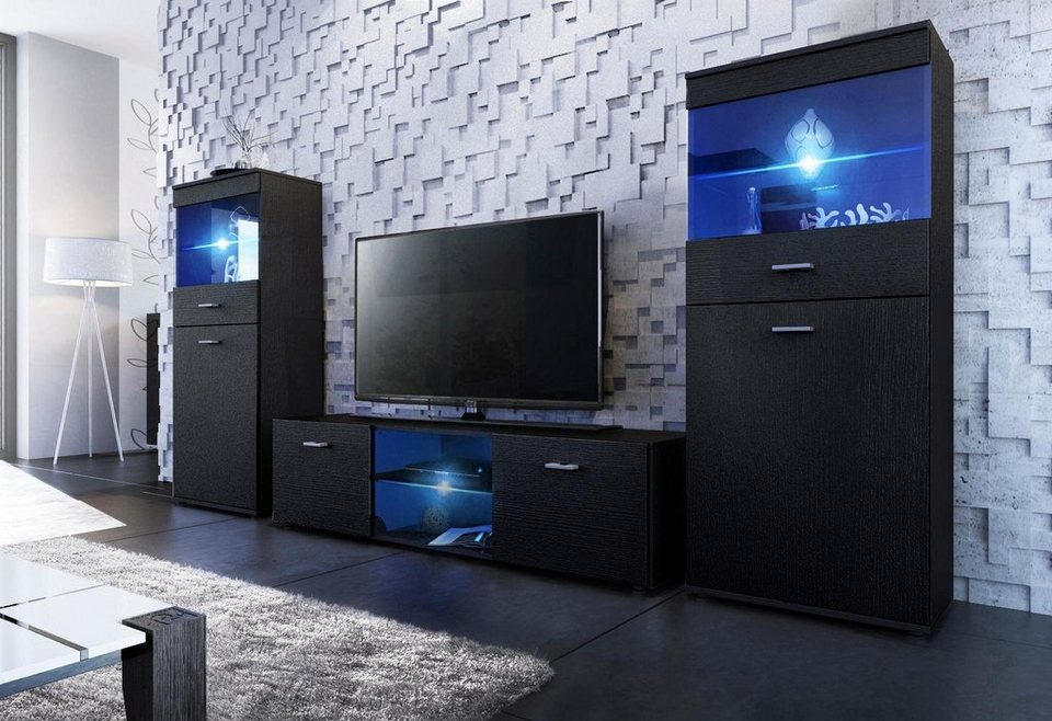 tv wand made in germany 3tlg online kaufen otto. Black Bedroom Furniture Sets. Home Design Ideas