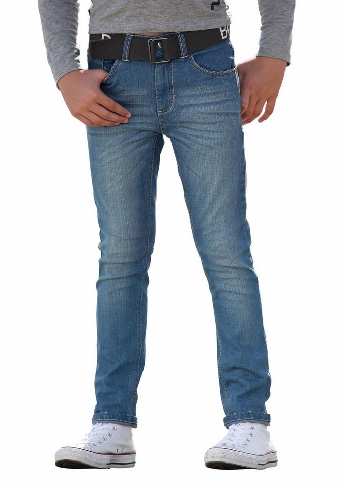 Bench Stretch-Jeans SLIM (Set, 2 tlg., mit Gürtel) in blue-denim