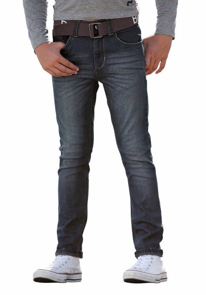 Bench Stretch-Jeans SLIM (Set, 2 tlg., mit Gürtel) in dark-blue-denim