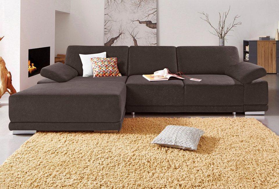 Sit & More Polsterecke mit XL-Recamiere, wahlweise mit Bettfunktion in braun