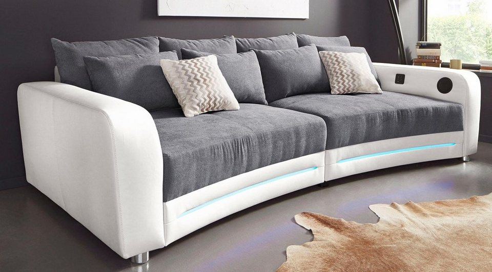 big sofa stunning xxl fabric sofa miami with led lights. Black Bedroom Furniture Sets. Home Design Ideas
