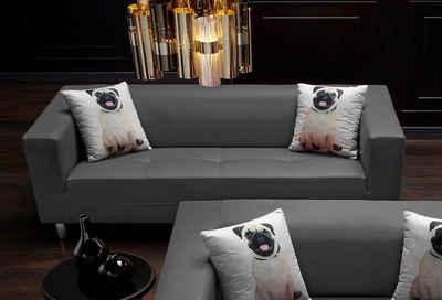 Collection AB Pfiffiges 3-Sitzer-Sofa, mit 2 lustigen Hunde-Zierkissen Sale Angebote Gastrose-Kerkwitz