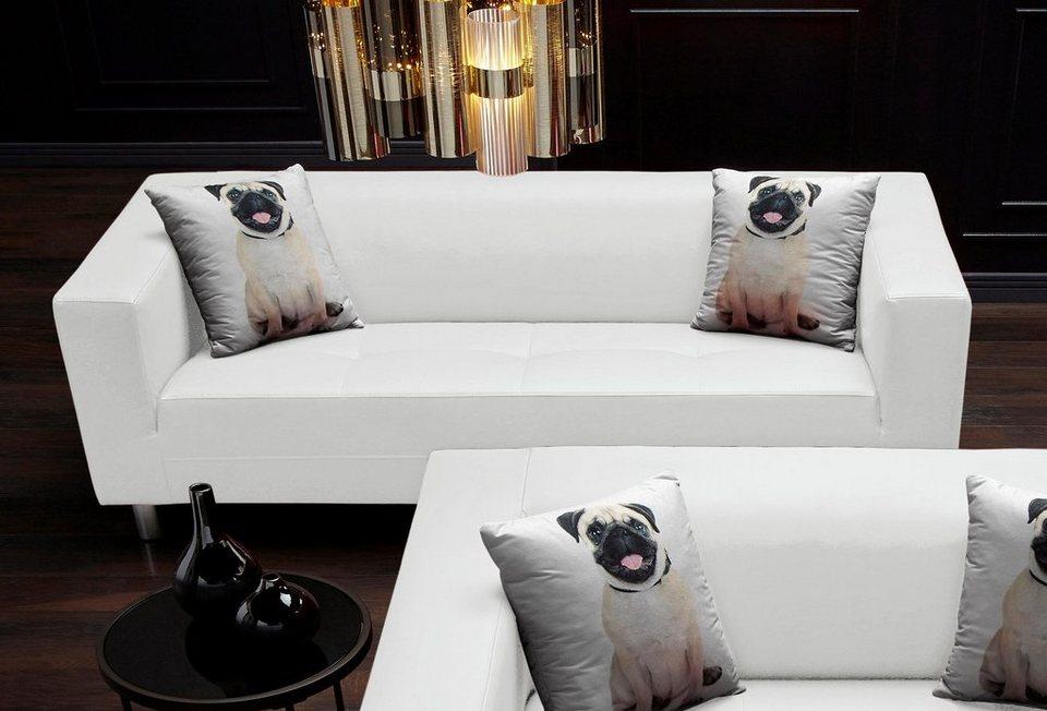 Collection AB Pfiffiges 3-Sitzer-Sofa, mit 2 lustigen Hunde ...