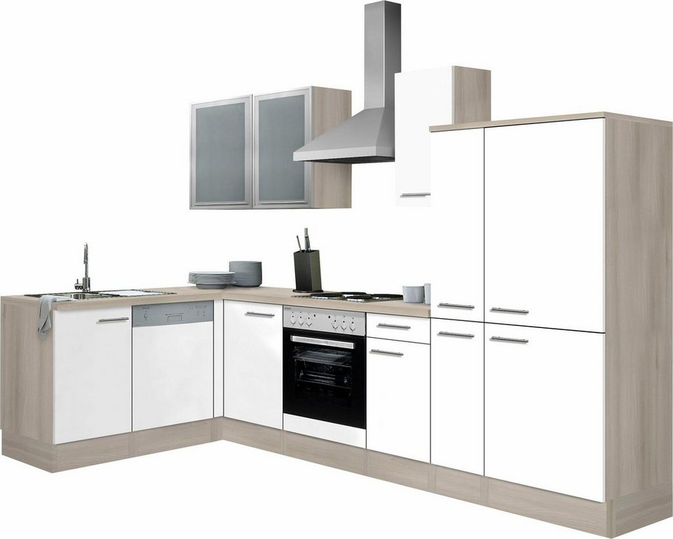 Optifit Winkelküche »Kalmar« mit E-Geräten, Stellbreite 300x175 cm in weiß