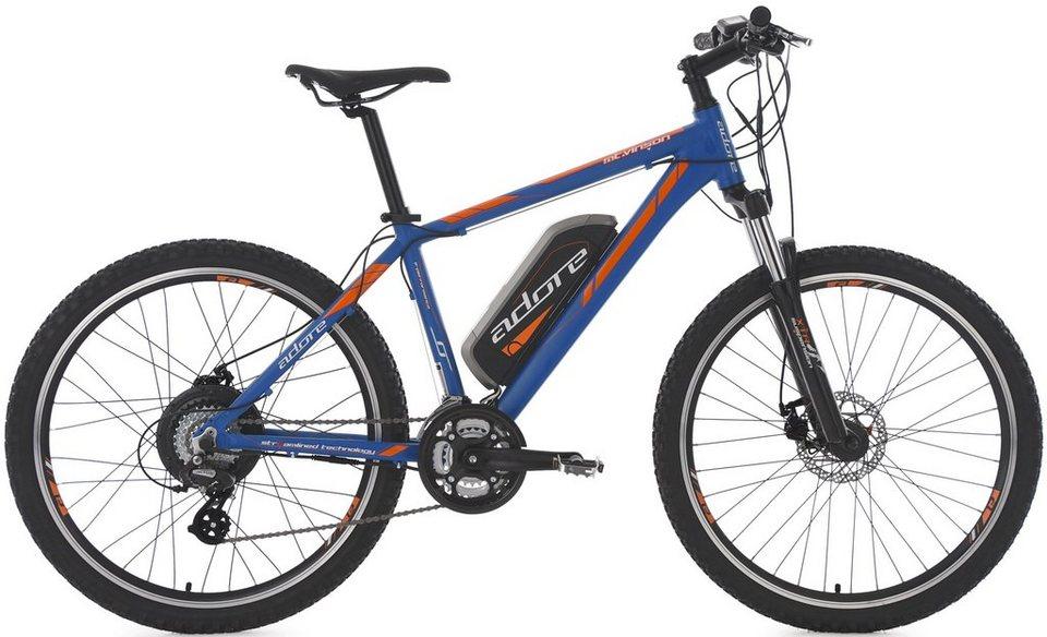 Adore MTB E-Bike, 26 Zoll, 24 Gang Shimano Altus, Hinterradmotor, 374 W, 36V/10,4 Ah, »Vinson« in blau