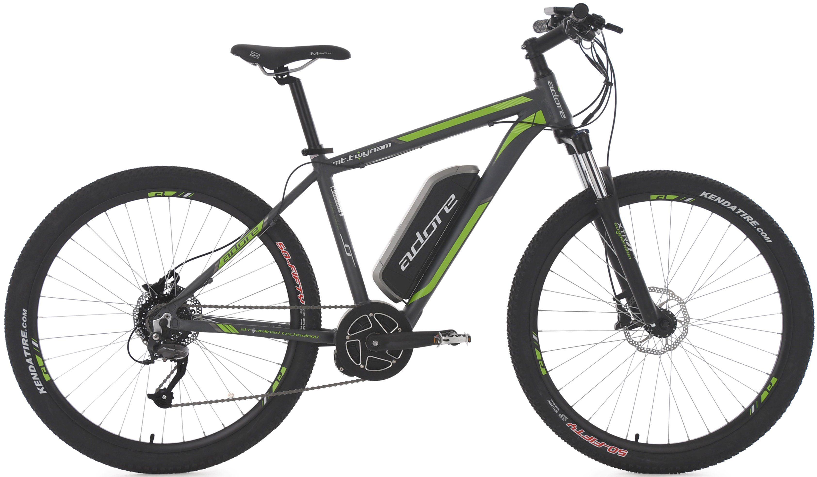 Adore MTB E-Bike, 27,5 Zoll, 9 Gang Shimano Altus, Mittelmotor, 374 W, 36V/10,4 Ah, »Twynam«