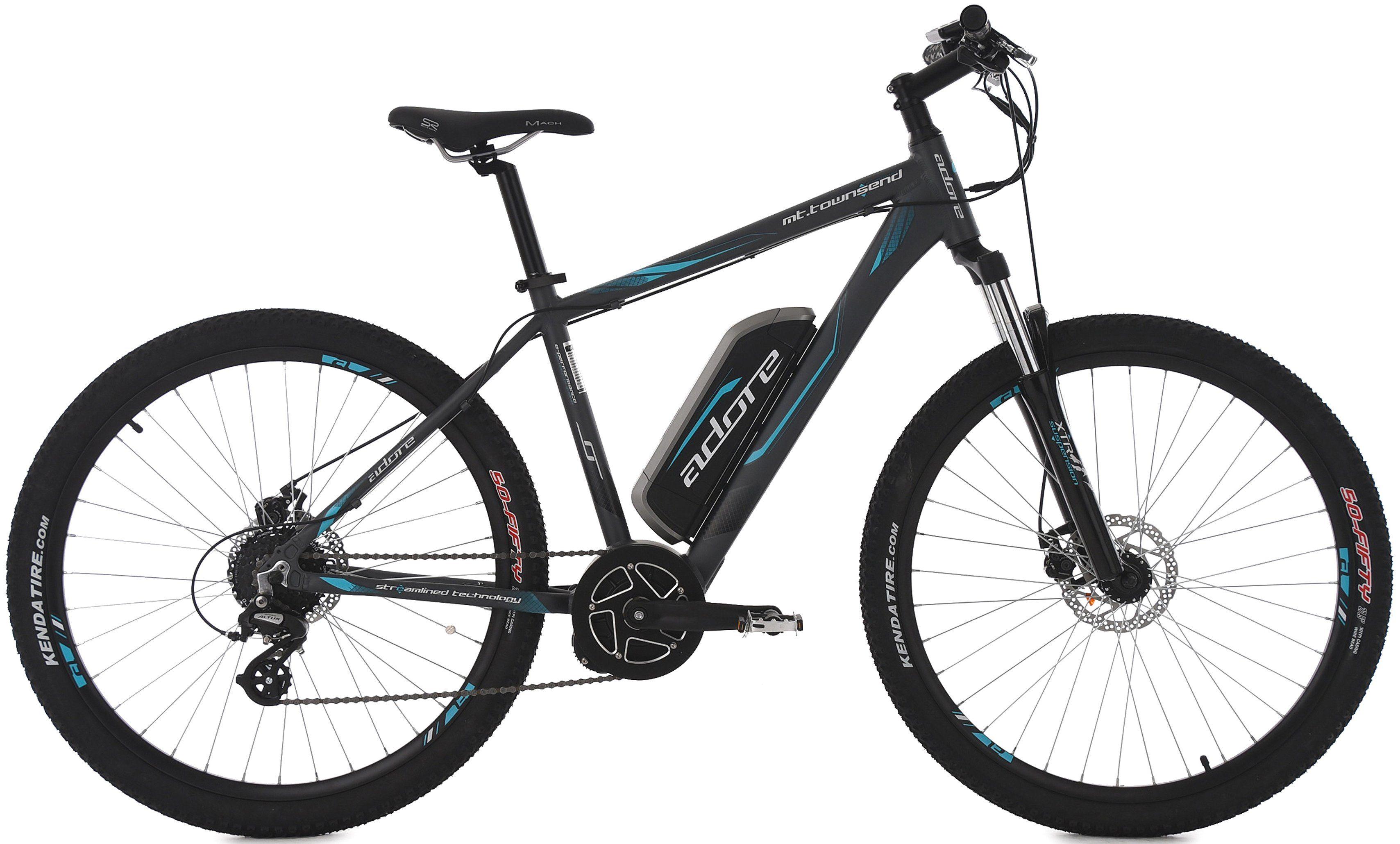 Adore MTB E-Bike, 27,5 Zoll, 8 Gang Shimano Altus, Mittelmotor, 374 W, 36V/10,4 Ah, »Townsend«