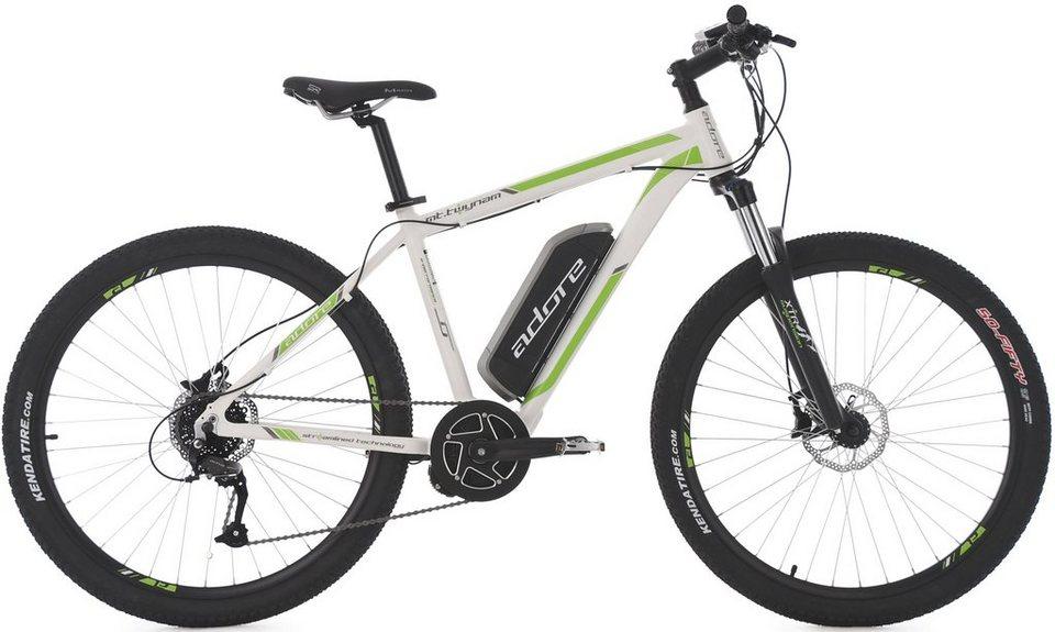 Adore MTB E-Bike, 27,5 Zoll, 9 Gang Shimano Altus, Mittelmotor, 374 W, 36V/10,4 Ah, »Twynam« in weiß