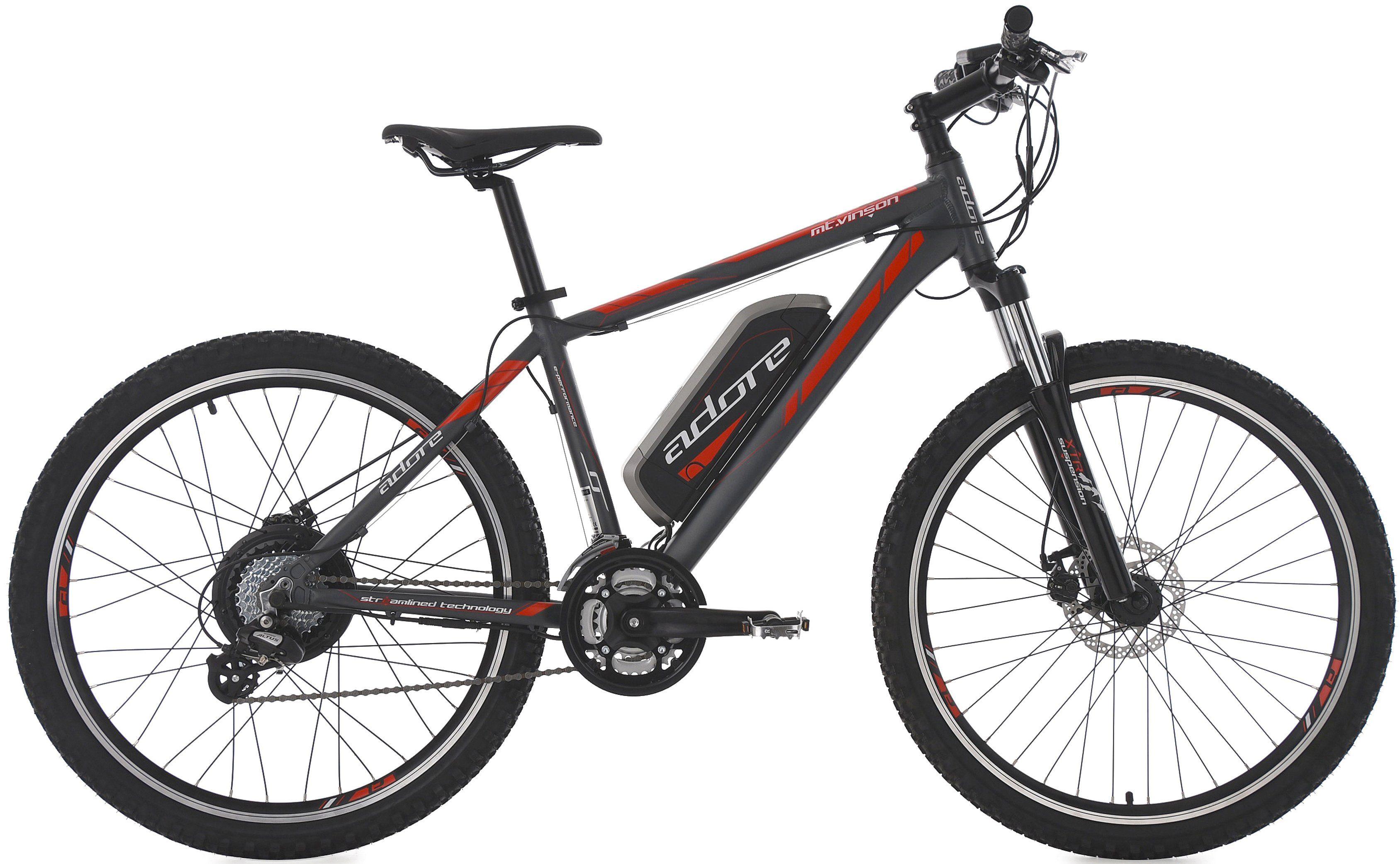 Adore MTB E-Bike, 26 Zoll, 24 Gang Shimano Altus, Hinterradmotor, 374 W, 36V/10,4 Ah, »Vinson«