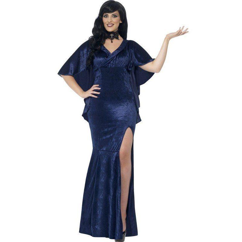 Kurvige blaue Gothic Lady Damenkostüm, Weibliches Kleid ...