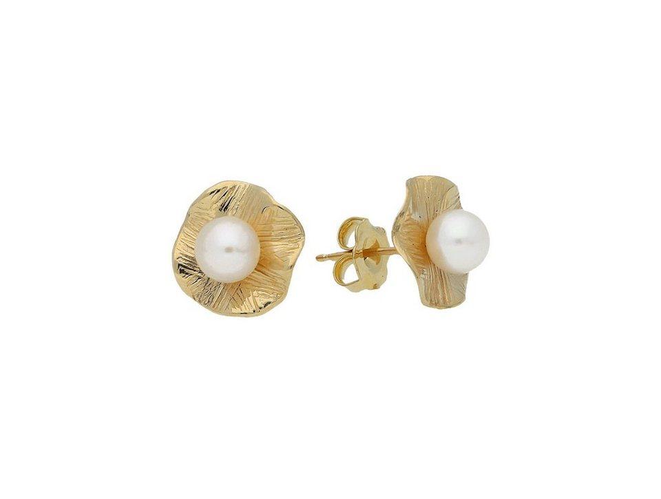 Firetti Paar Ohrstecker »Elegant« mit Perle in Gelbgold 585