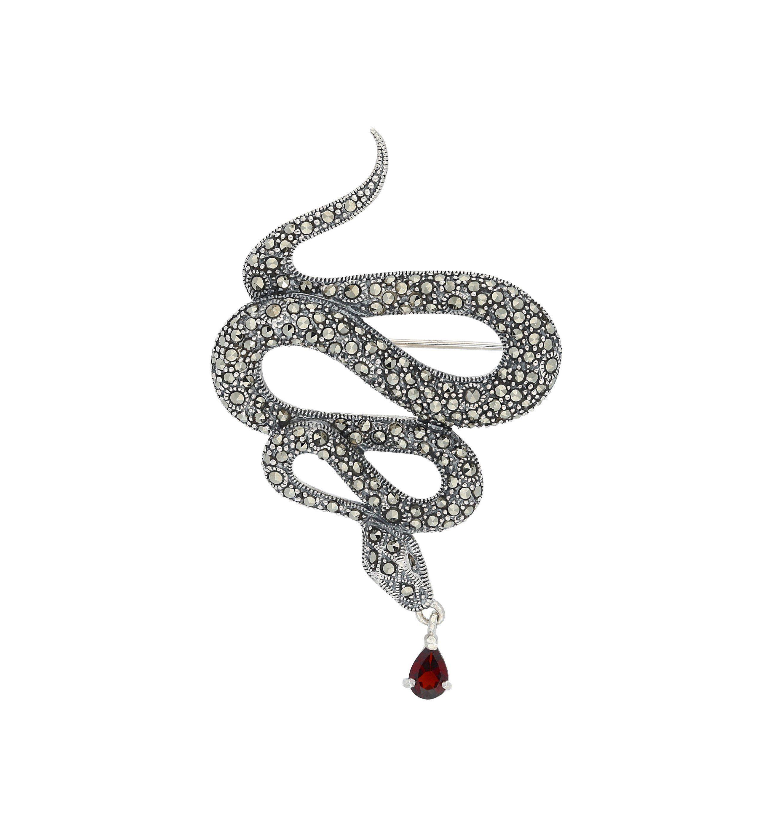 Firetti Brosche »Schlange« mit Markasit und Granat