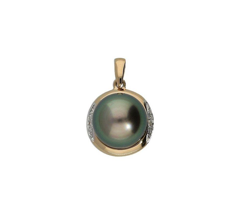 Vivance Perlenanhänger »Perle« mit Diamanten in Gelbgold 585