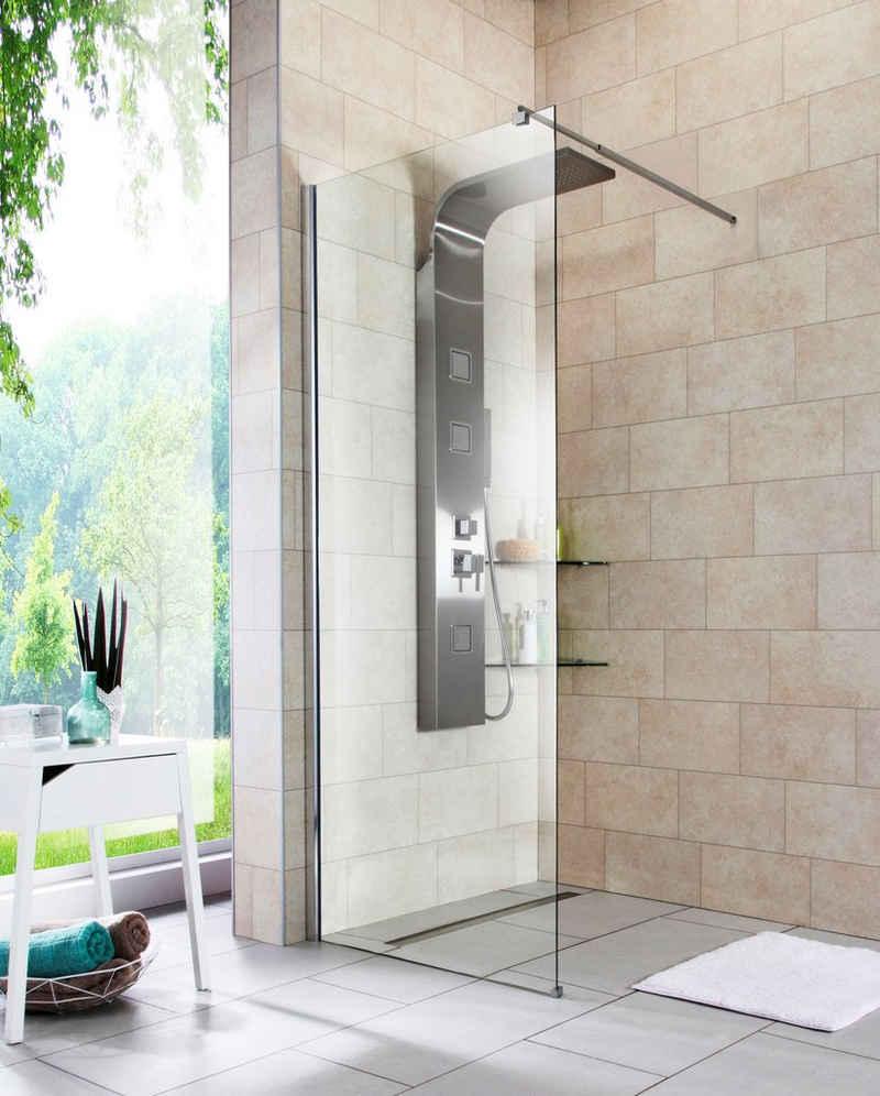 welltime Duschwand »Duschabtrennung«, Sicherheitsglas, Duschabtrennung in 4 verschiedenen Breiten (80-120cm)
