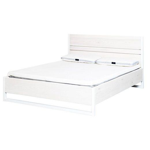 JOHANENLIES Bett »Upcycling Bett LUBERON«, Recyceltes Bauholz und Stahl. Nachhaltig. Handgefertigt.
