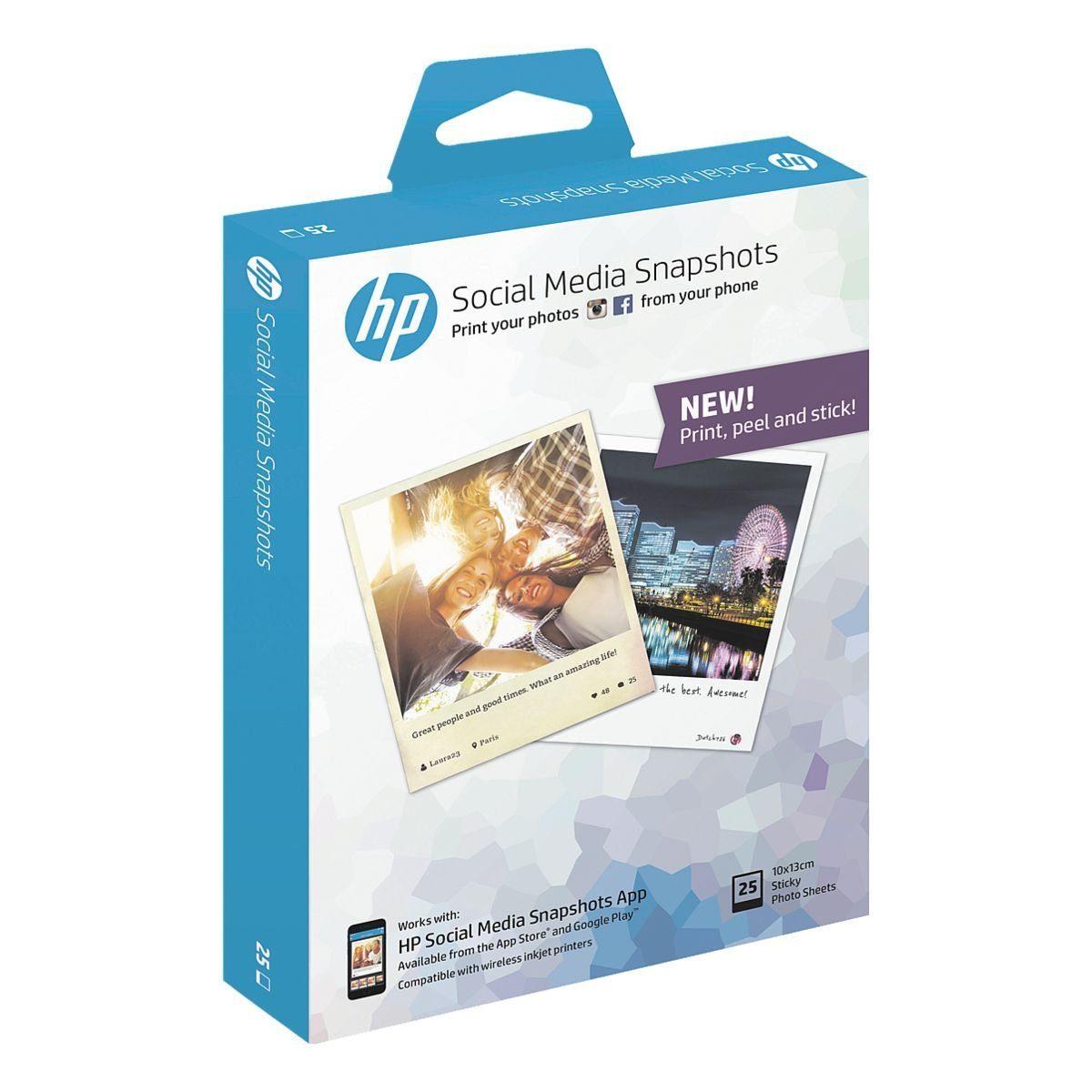 HP Foto-Tintenstrahl-Papier 10x13 25 Blatt »Social Media Snapshot«