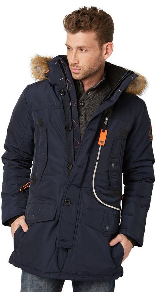 TOM TAILOR Jacke »Winterjacke mit Kapuze« in knitted navy