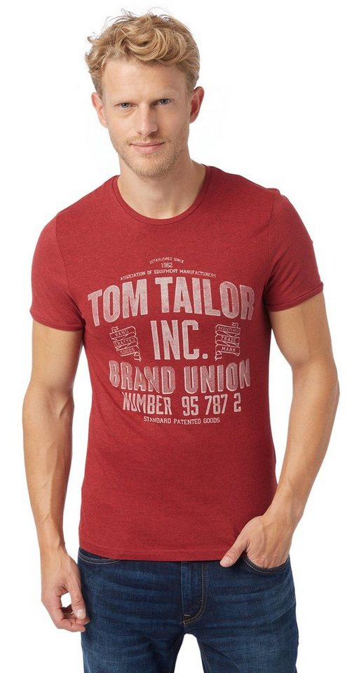 TOM TAILOR T-Shirt »Basic T-Shirt mit Logo-Print« in burning red melange