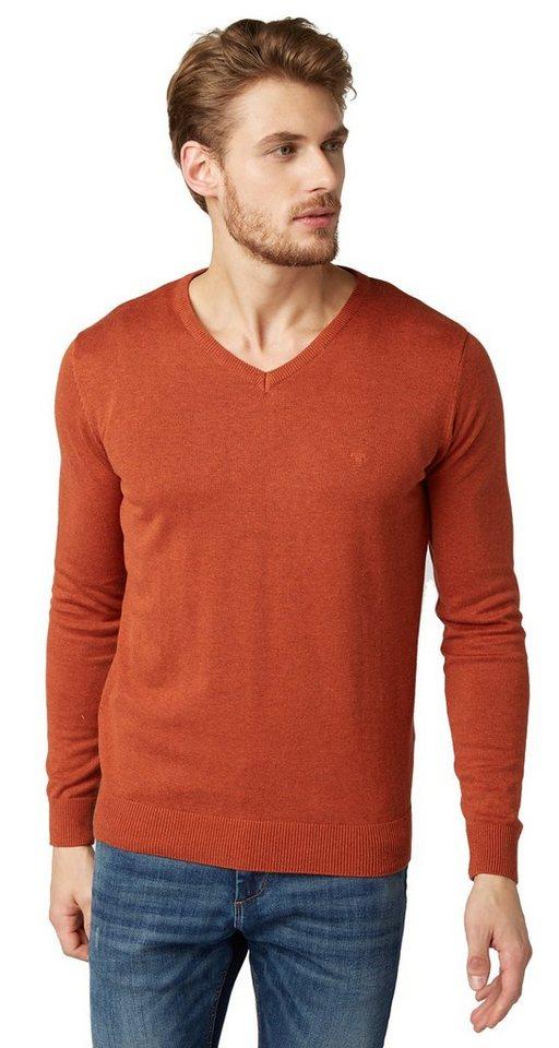 TOM TAILOR Pullover »Basic V-Ausschnitt Pullover« in antique orange melan