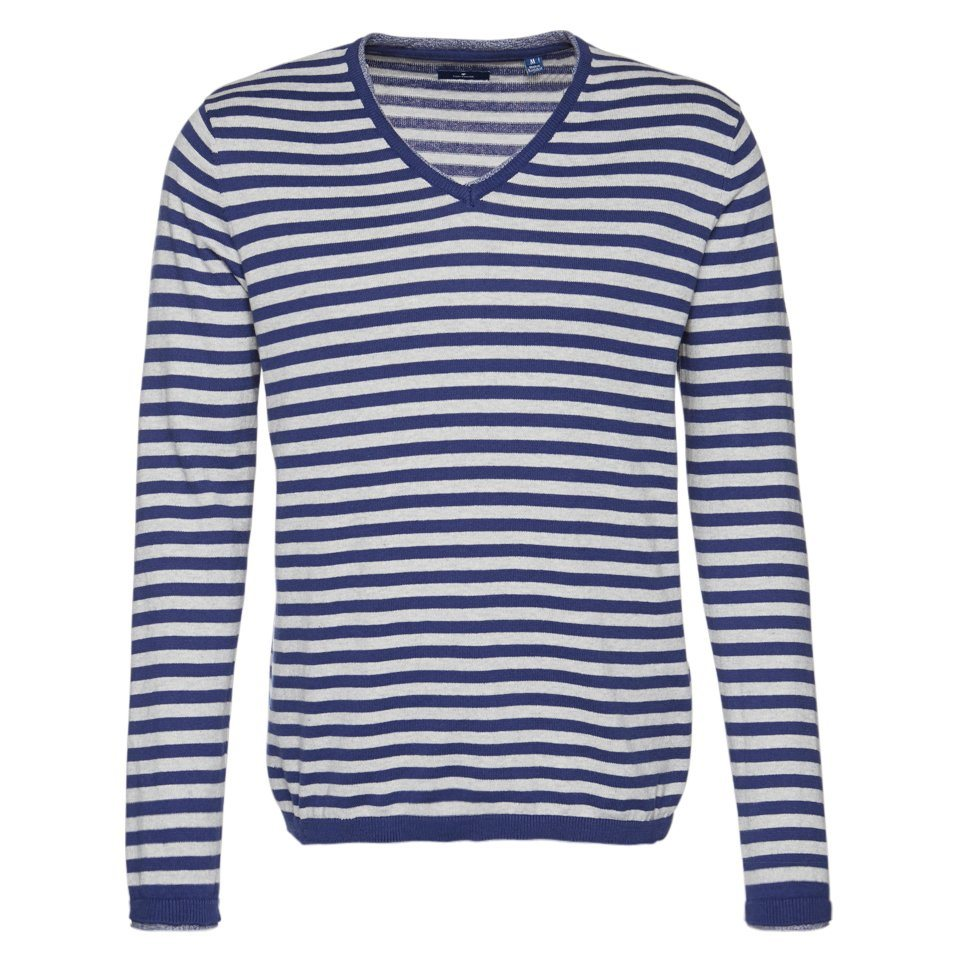 TOM TAILOR Pullover »striped fine knit sweater« in indic blue